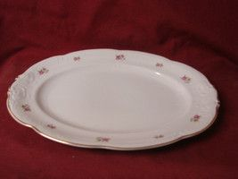 Walbrzych, China Dinnerware Pattern  Pink rose Oval serving platter