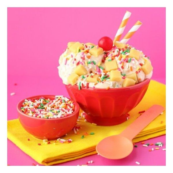 Cake Batter Ice Cream foodgawker ❤ liked on Polyvore featuring food and drink, food, ice cream, photo and pictures
