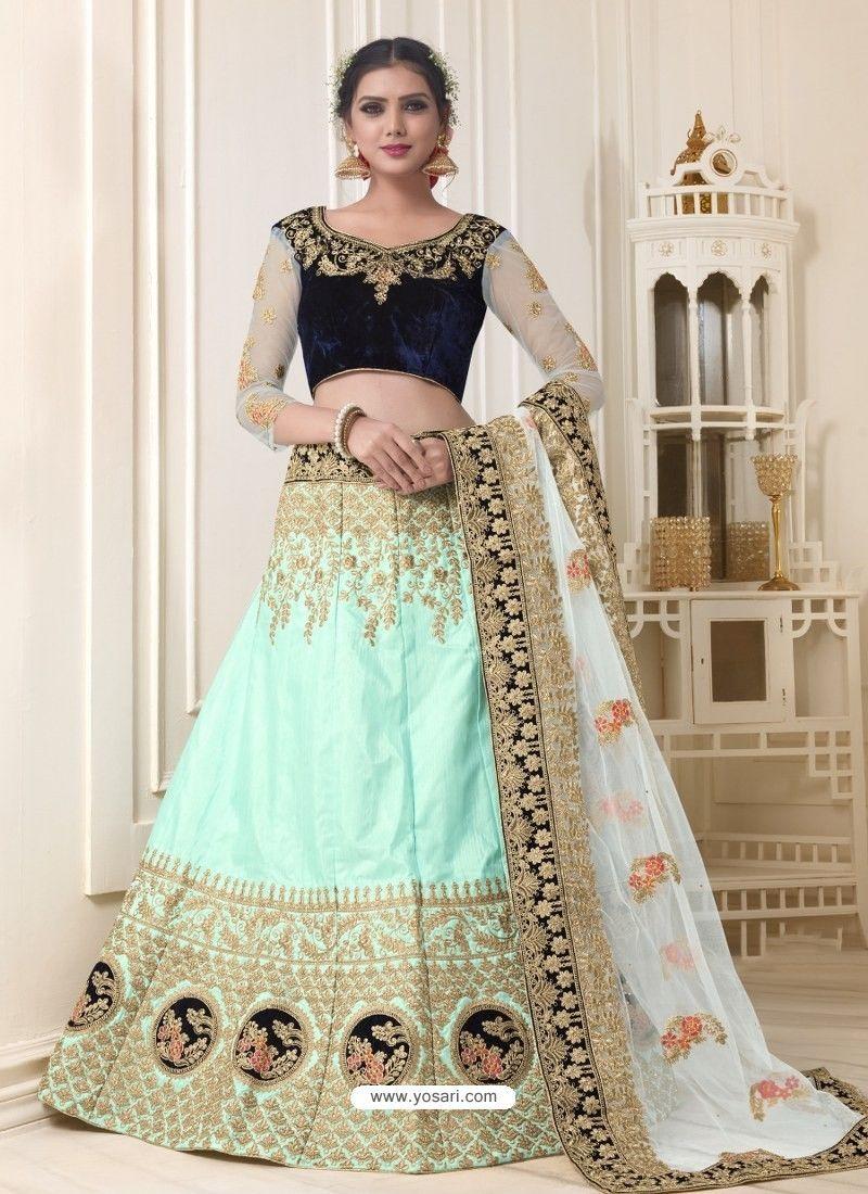 099ce31add1308 Awesome Sky Blue And Navy Blue Embroidered Velvet Designer Lehenga Choli