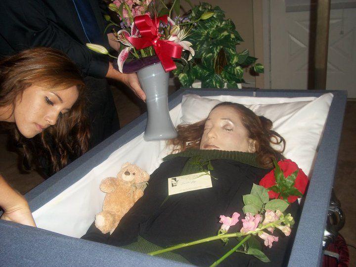 jennifer hawkins in her open casket during her funeral mi