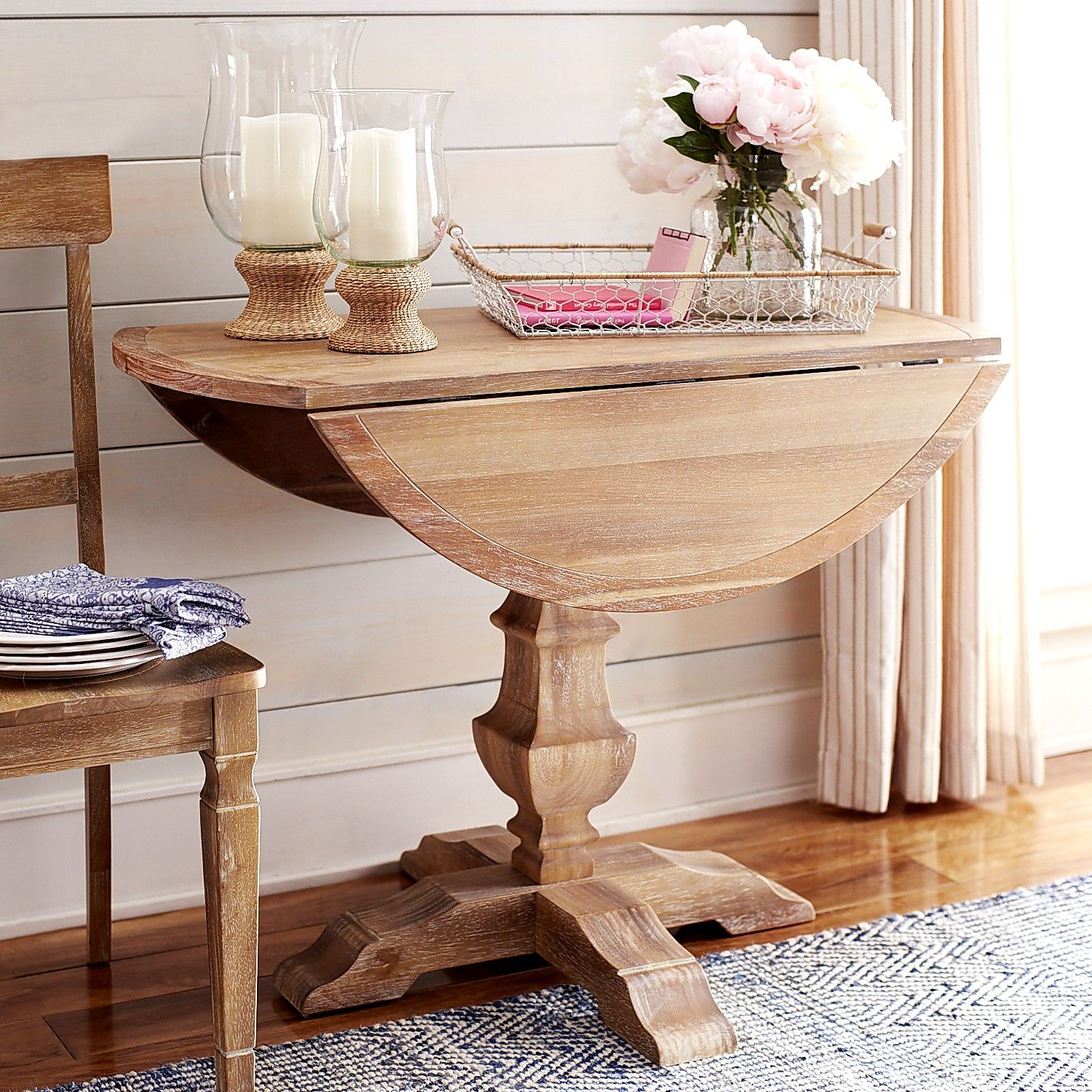 15 Small Dining Room Table Ideas Tips: Bradding Natural Stonewash Round Drop Leaf Dining Table