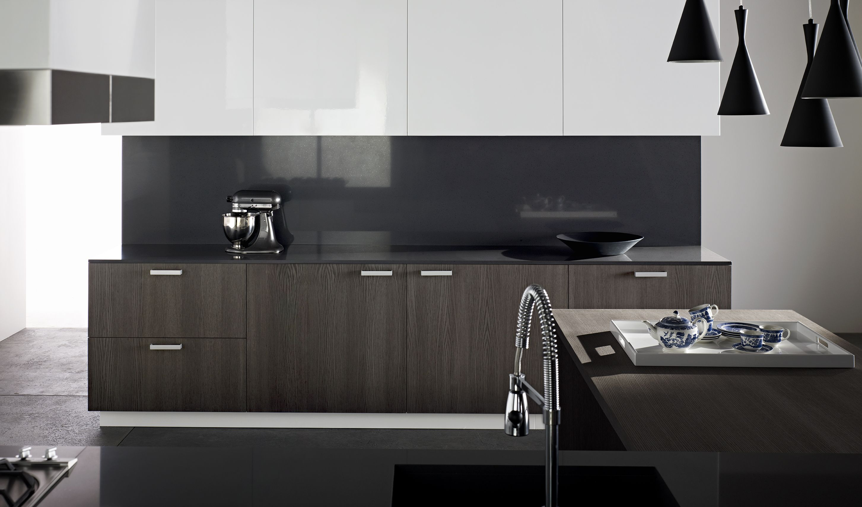 Benchtop And Splashback Essatone French Black Upper Storage Cabinets Laminex Crystalgloss