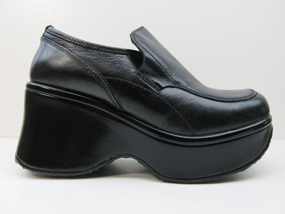 1aa8e9892d7 90s Black Platform Loafers Wedge Steve Madden    by madisonhartley ...