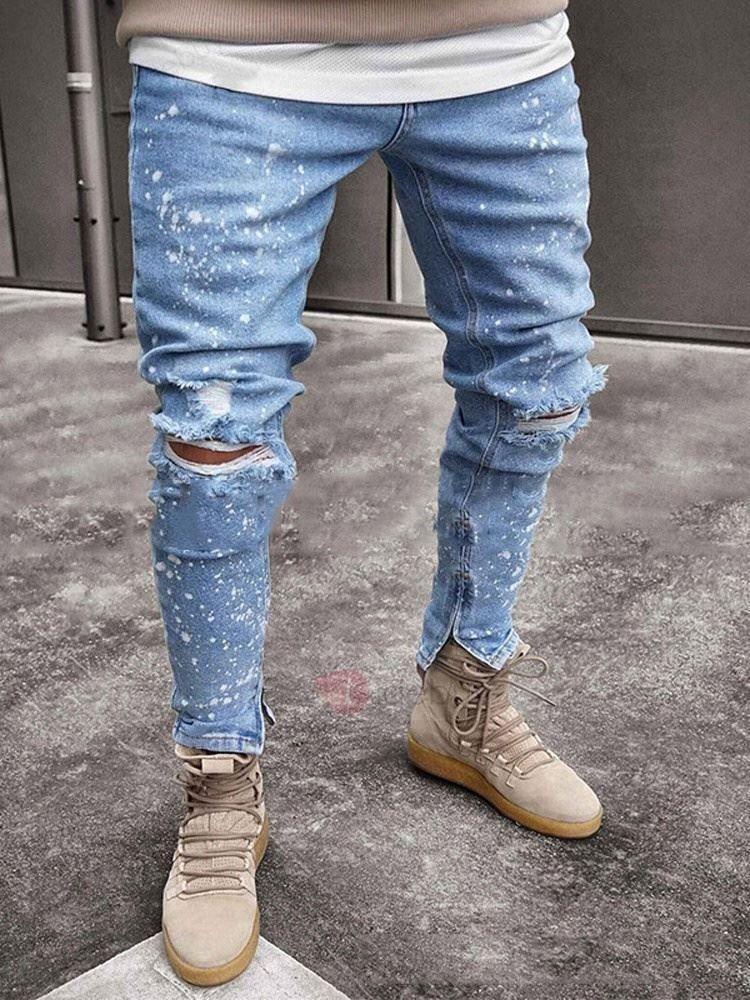 Herren Jeans Skinny Stretch Biker Jeanshose Destroyed Ripped Slim Fit Denim Hose