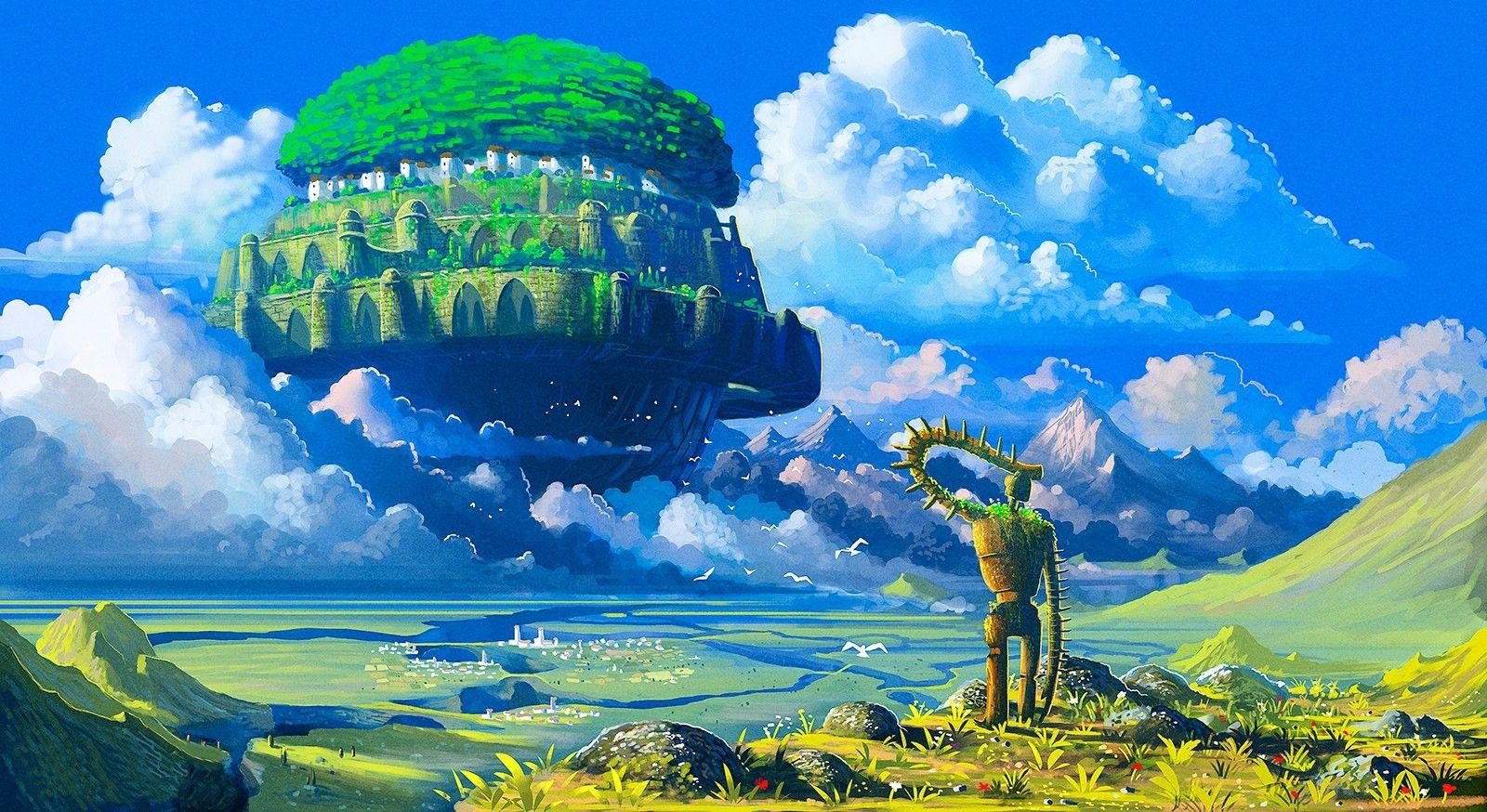 floating island, anime, Castle in the Sky, Studio