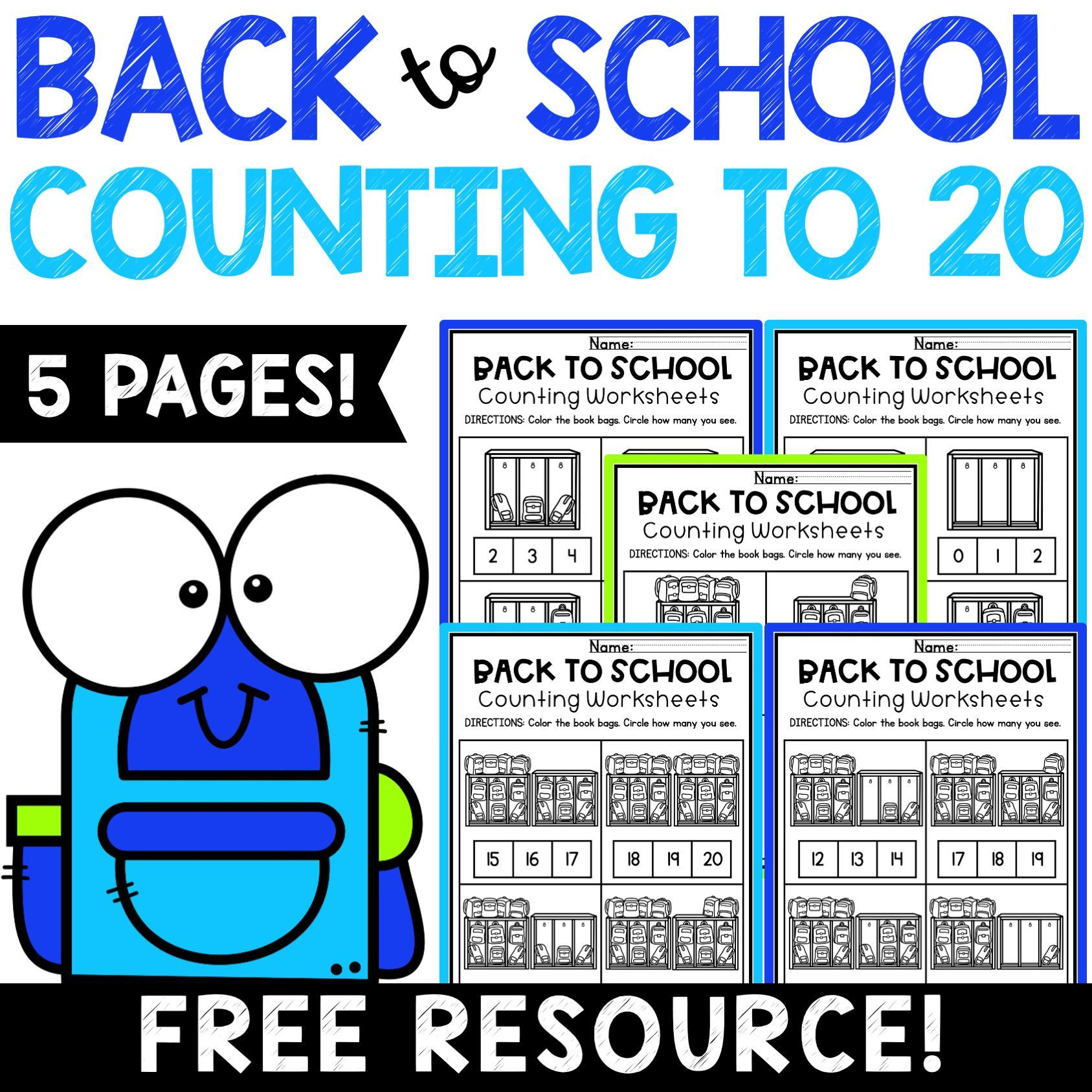 Back To School Counting To 20 Worksheets In