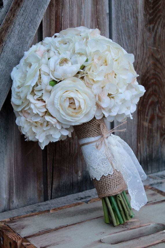 Ivory Silk Flower Burlap And Lace Bridal Bouquet Personally I
