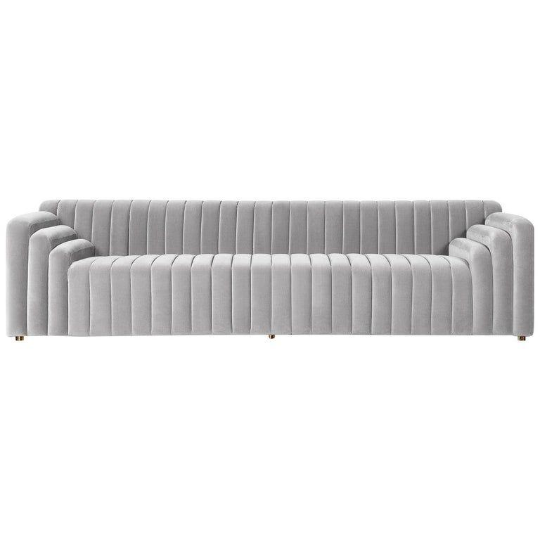 1stdibs Velvet Channel Tufted Sofa Art Deco Asian Sectional Sofa