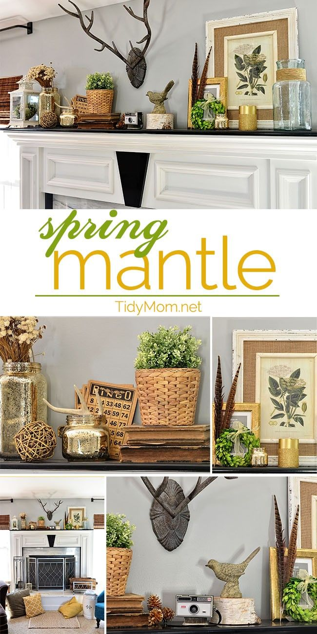 Decorating a SPRING MANTLE at TidyMomnet Spring