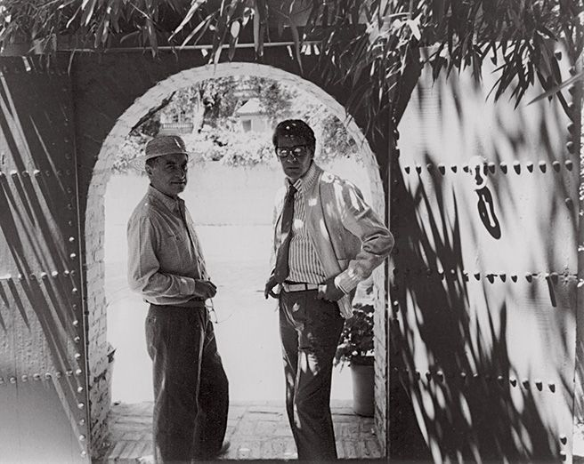 YSL and Bergé at the Jardin Majorelle's entrance in 1982