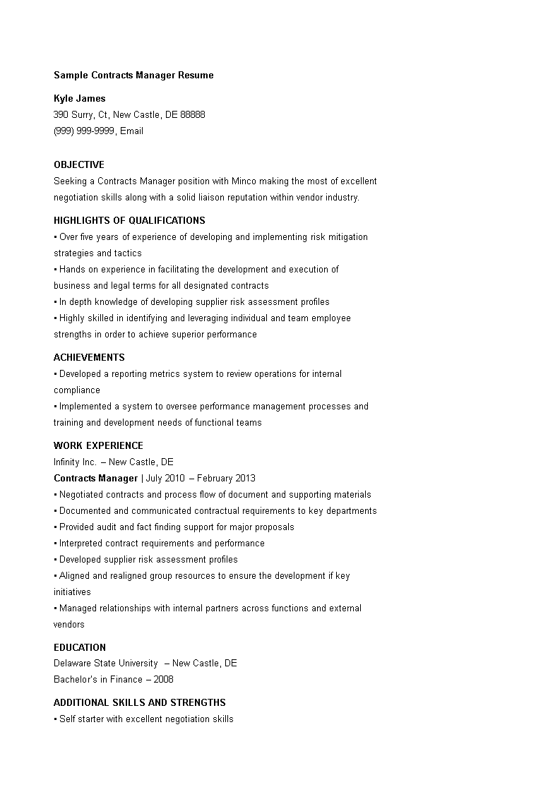 Sample Contract Manager Resume How To Draft A Contract Manager Resume Download This Sample Contract Manager Resume Tem Manager Resume Resume Download Resume