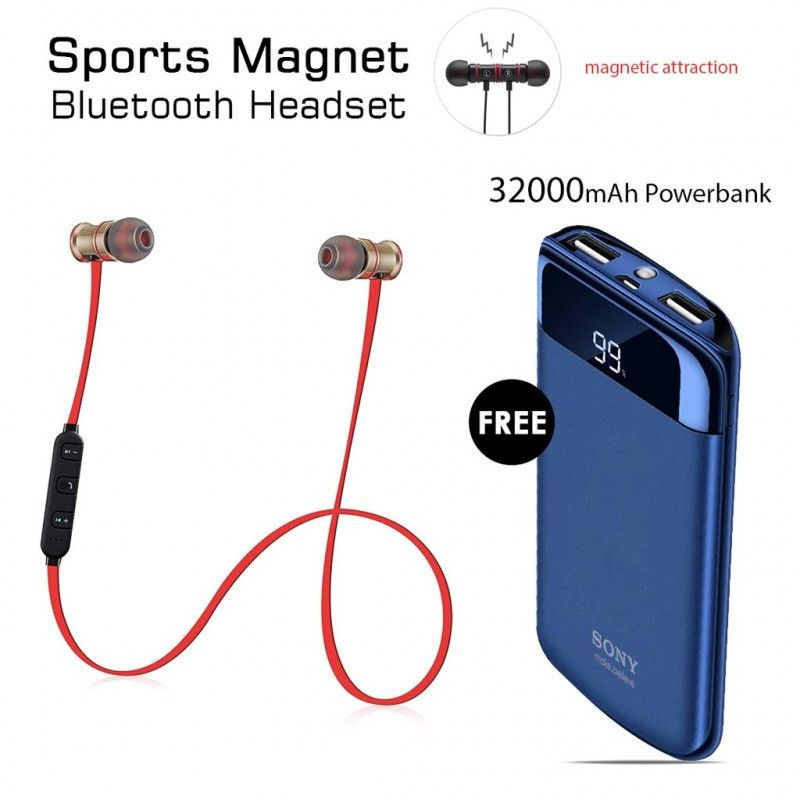 ce8cf2d05 Buy Sports Magnet Headset With Free 32000mAh Sony Power Bank 1190  #wishingone.com