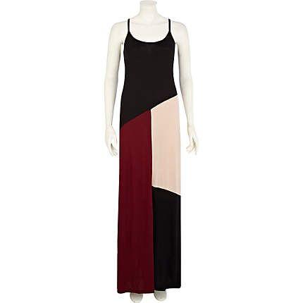 Black color block maxi dress - cover-ups - swimwear / beachwear - women
