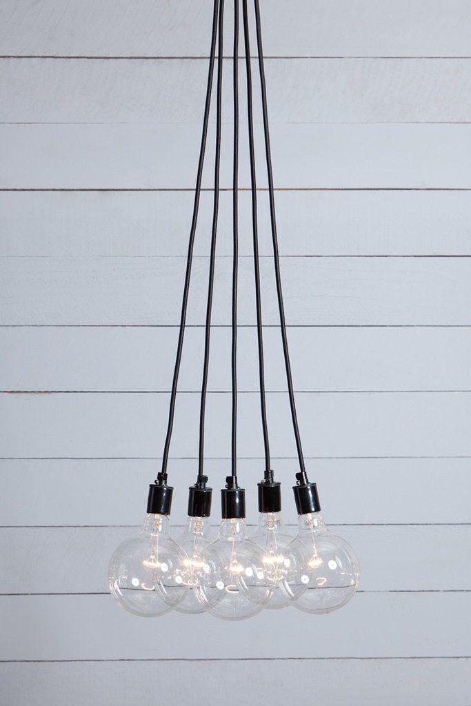 Bare Bulb Chandelier 5 Light Cer
