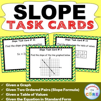 Slope Task Cards 40 Cards Standard Form Word Problems And