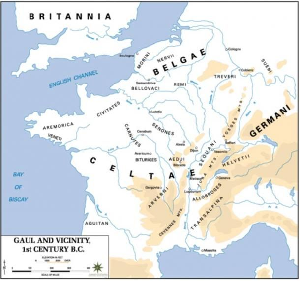 A map of Gaul in the 1st century BC  WERELD  Pinterest  Roman