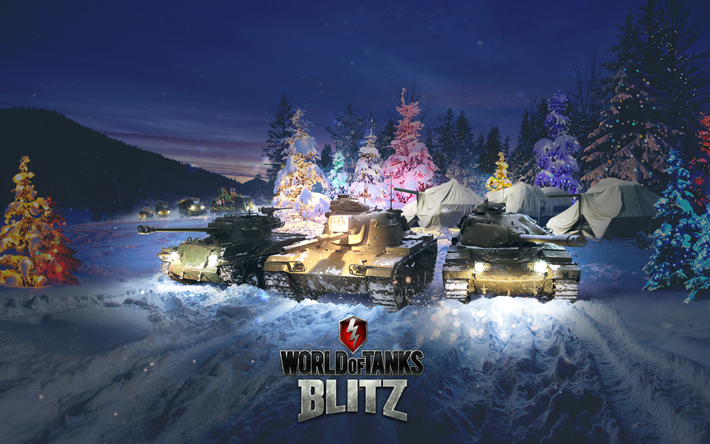 Download wallpapers World of Tanks Blitz, 4k, WoT, tanks, winter