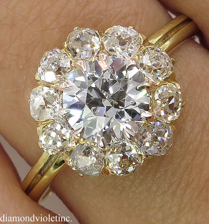 Gia 201ct antique vintage round diamond cluster