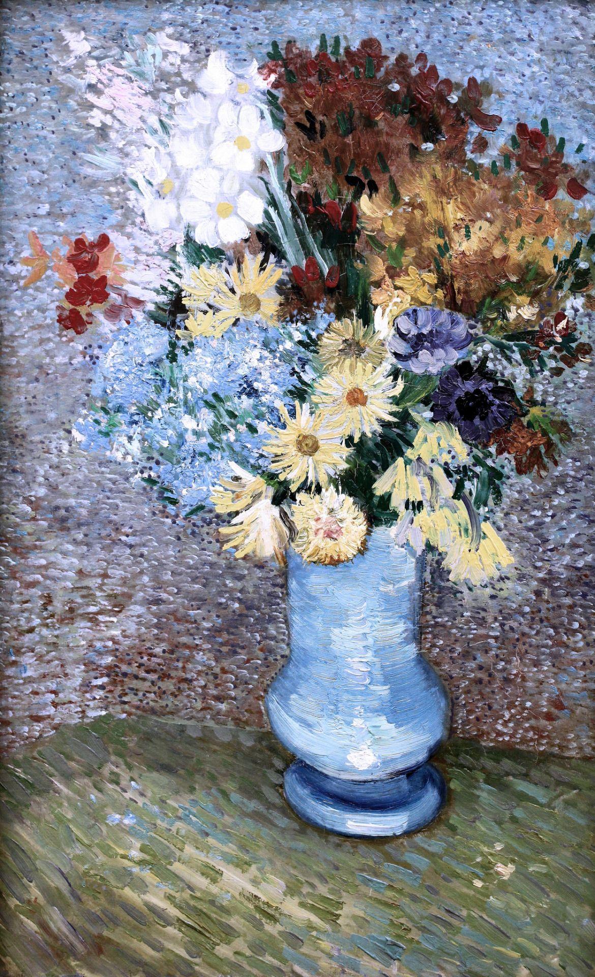 Fleurs dans un vase bleu vincent van gogh 1887 photo