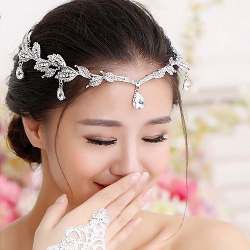 Wedding Women Rhinestone Crystal Chain Leaf Hair Band Tiara Headband Headpiece
