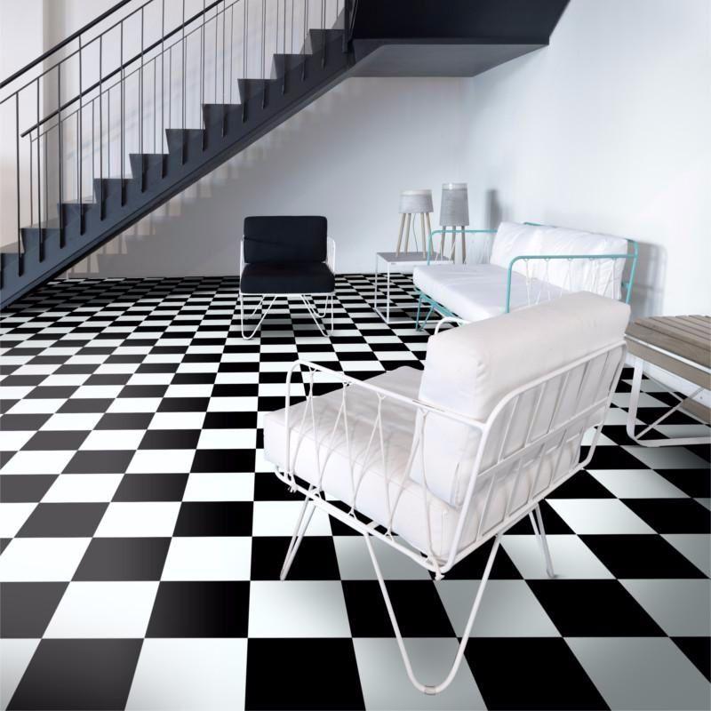 Revetement Pvc Largeur 4m Textstyle Modena 901d Damier Noir Et Blanc Beauflor Carrelage Noir Et Blanc Revetement Damier