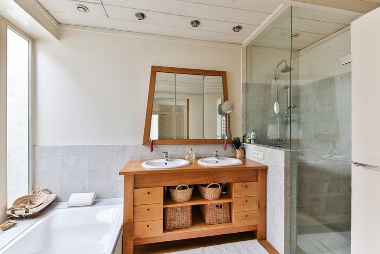 Badezimmer Renovieren Unterschrank Holz Moderner Landhausstil
