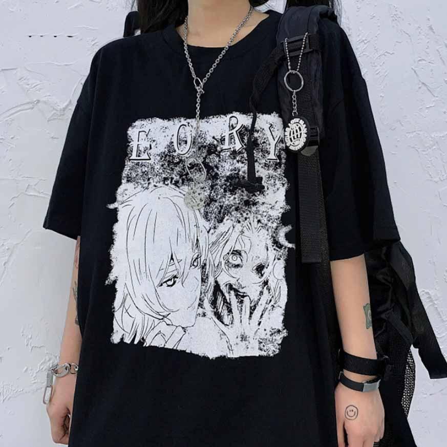 punk anime girl t shirt