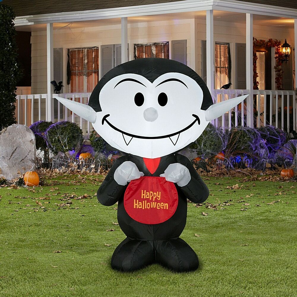 3Ft Yard Inflatables Candy Vampire W/ Happy Halloween Sign