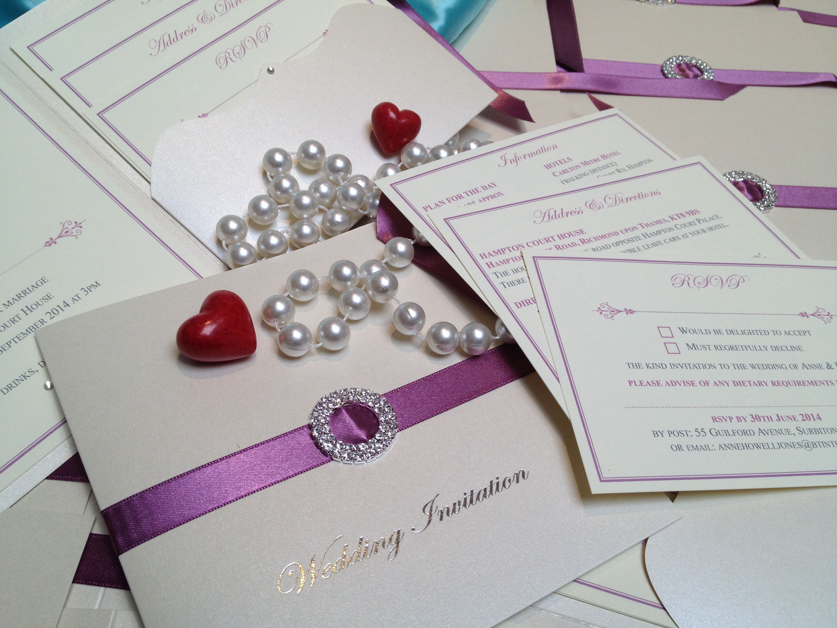 London wedding invitations - handmade luxury bespoke bookfold with ...