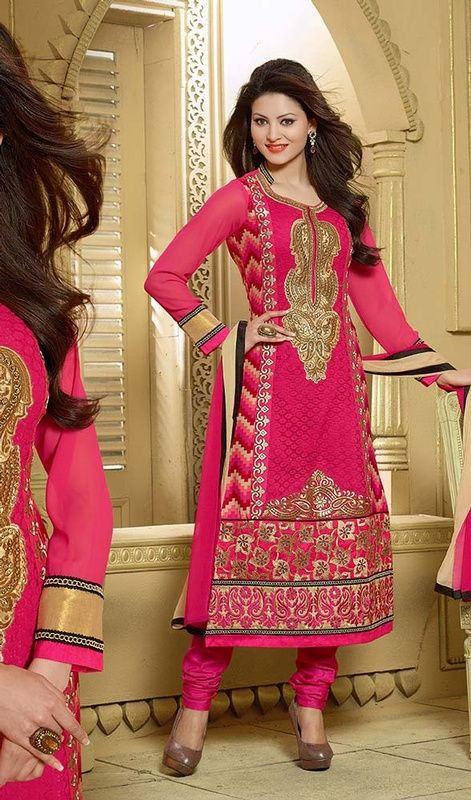Showcase a blend of traditional and modern style donning this pink georgette embroidered churidar suit. The butta, lace, patch, resham and stones work appears to be chic and aspiration for any party. #FushiaPinkDressWithYokeWork