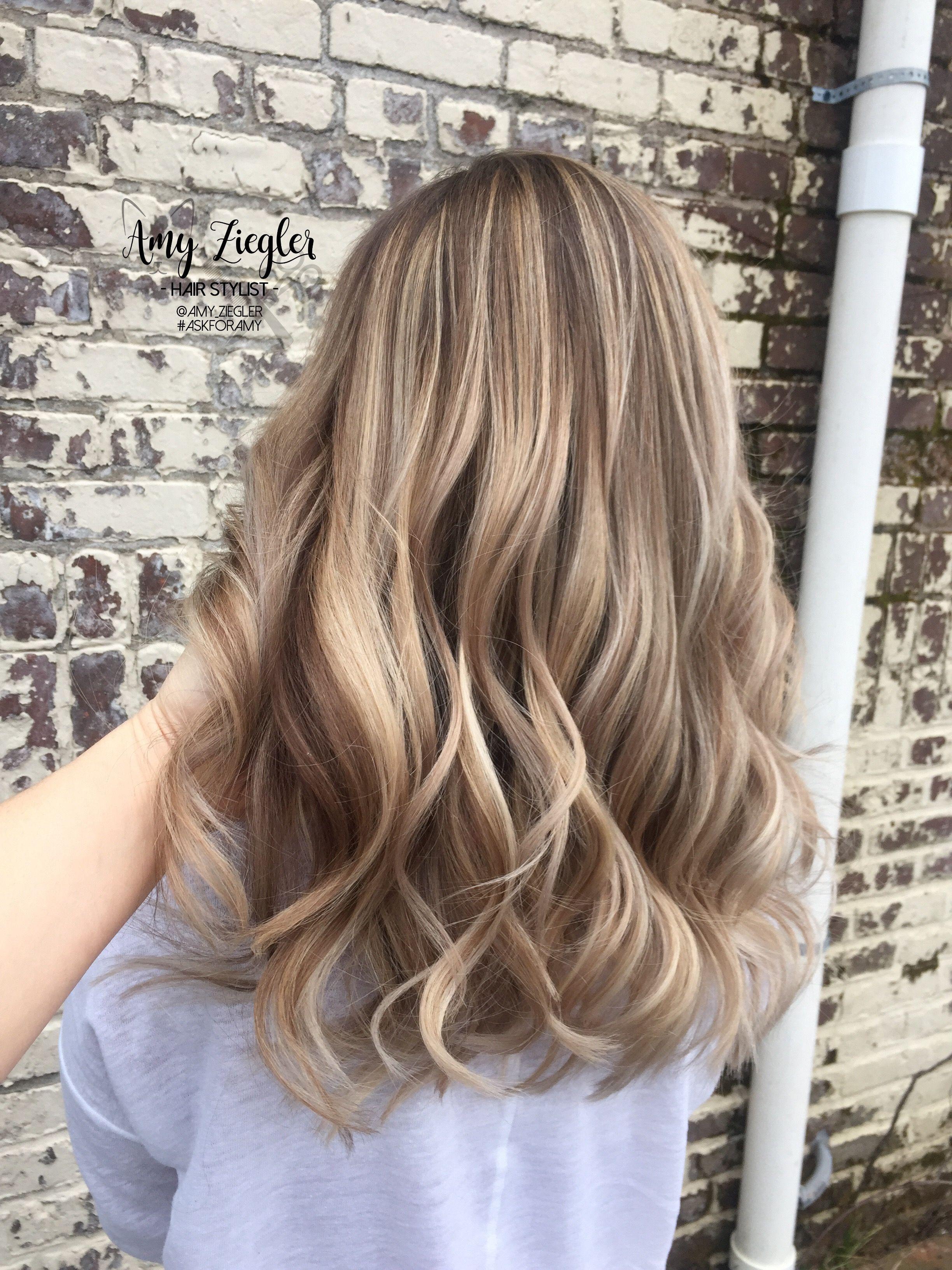 Blonde Balayage and Long Layered Haircut by amyziegler askforamy