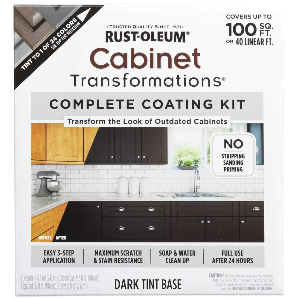 Rust Oleum Transformations Dark Color Cabinet Kit 9 Piece 258240 The Home Depot Painting Kitchen Cabinets Kitchen Cabinet Colors Rustoleum