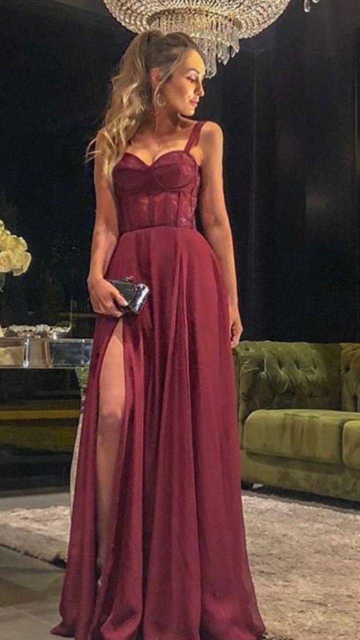 A-line burgund lange prom dressesheath party dresses mit split