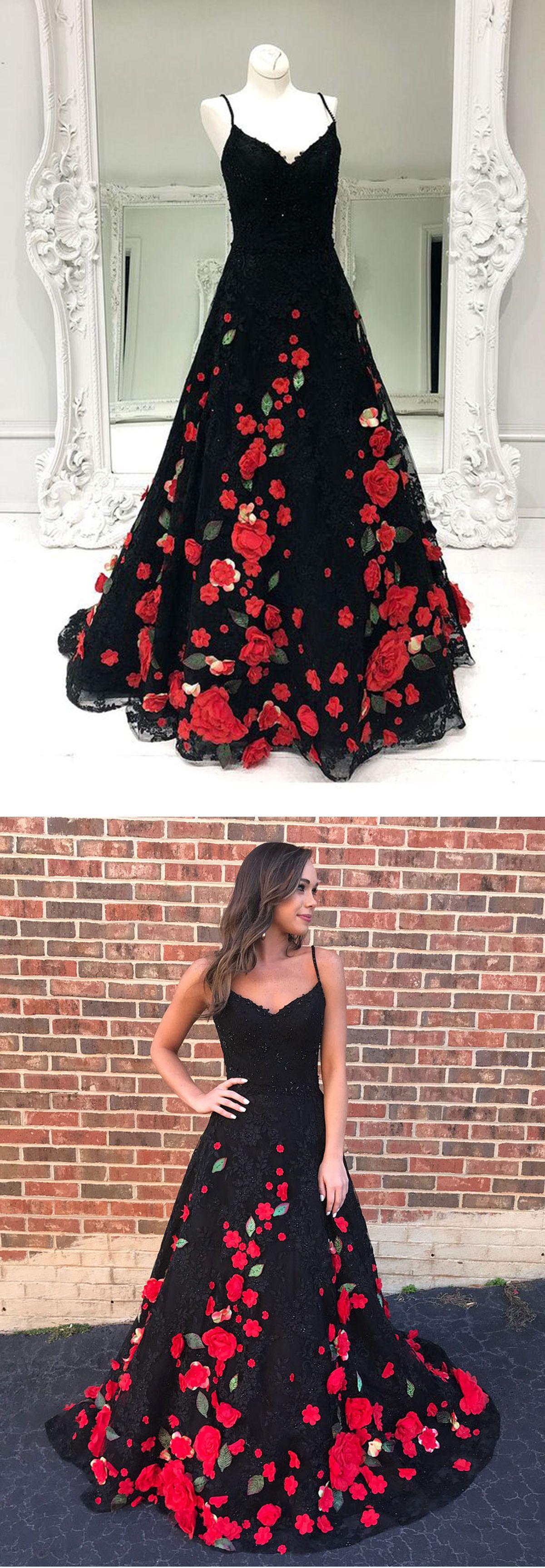 Gorgeous black flower lace long customize prom dress black evening