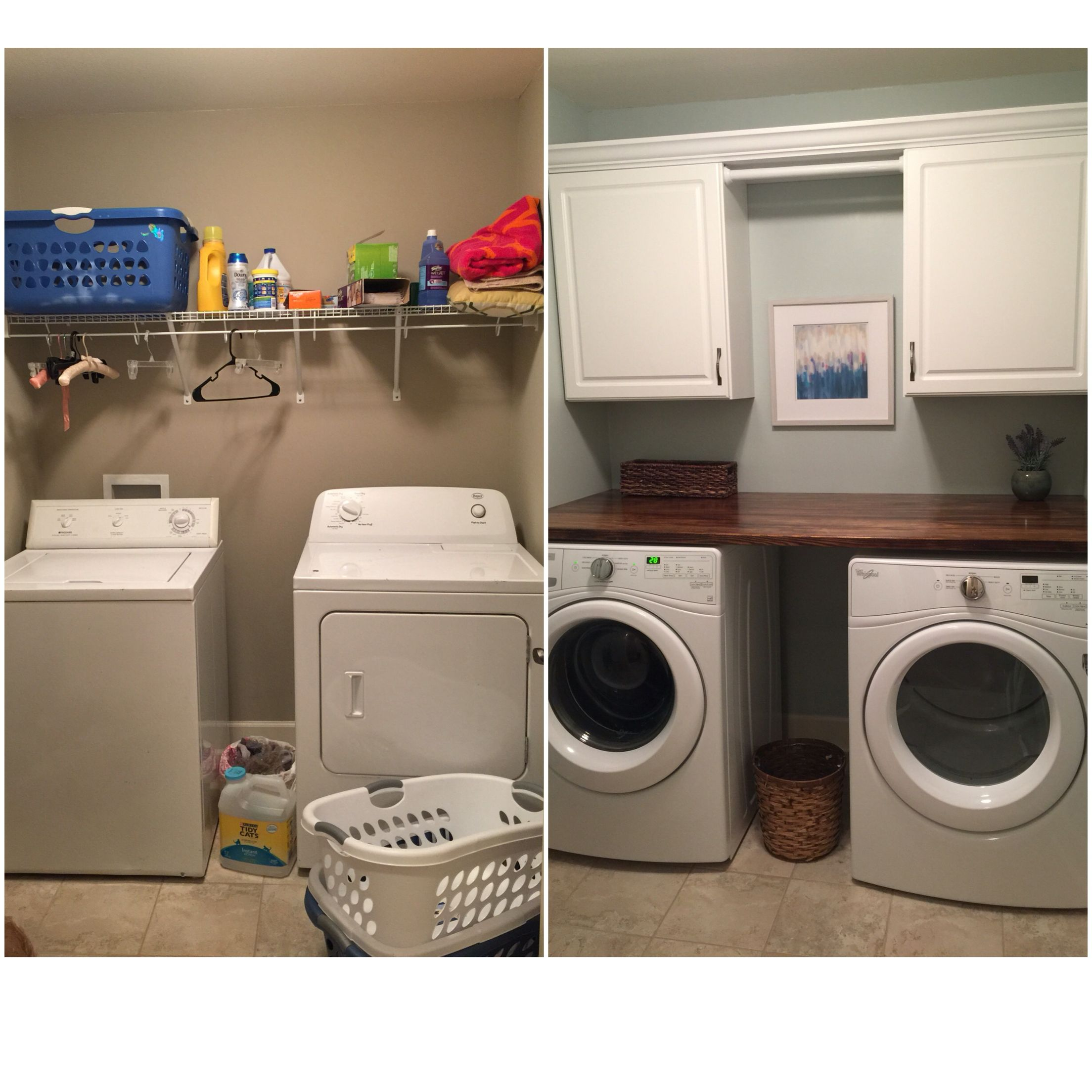 My DIY laundry room makeover Paint color is SW Sea Salt Cabinets