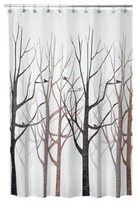 InterDesign Forest 54 Inch X 78 Shower Curtain In Grey Black