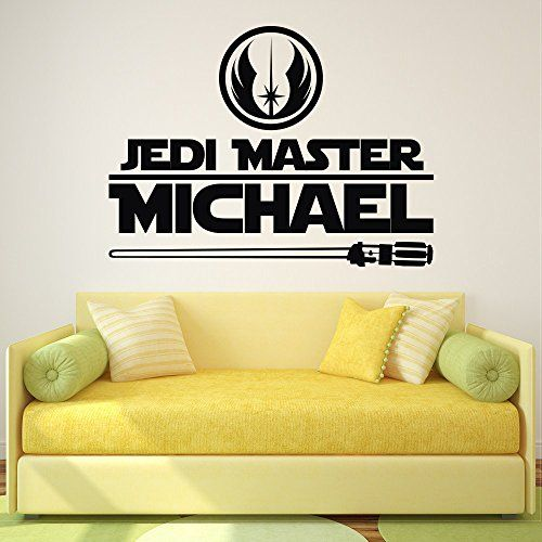 Star Wars Name Wall Decal Jedi Master Personalized Stickers Quote ...