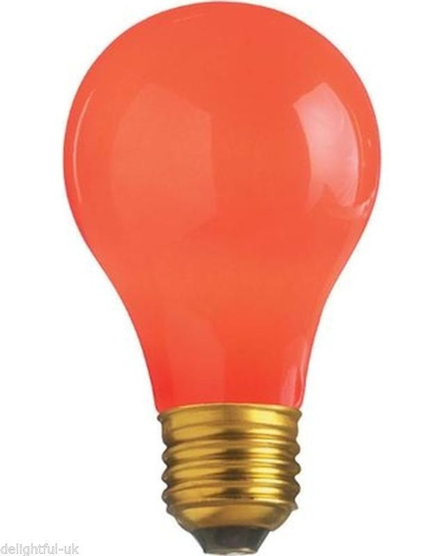 Details About Red Coloured Light Bulb 15w Es Screw In Cap Lamp