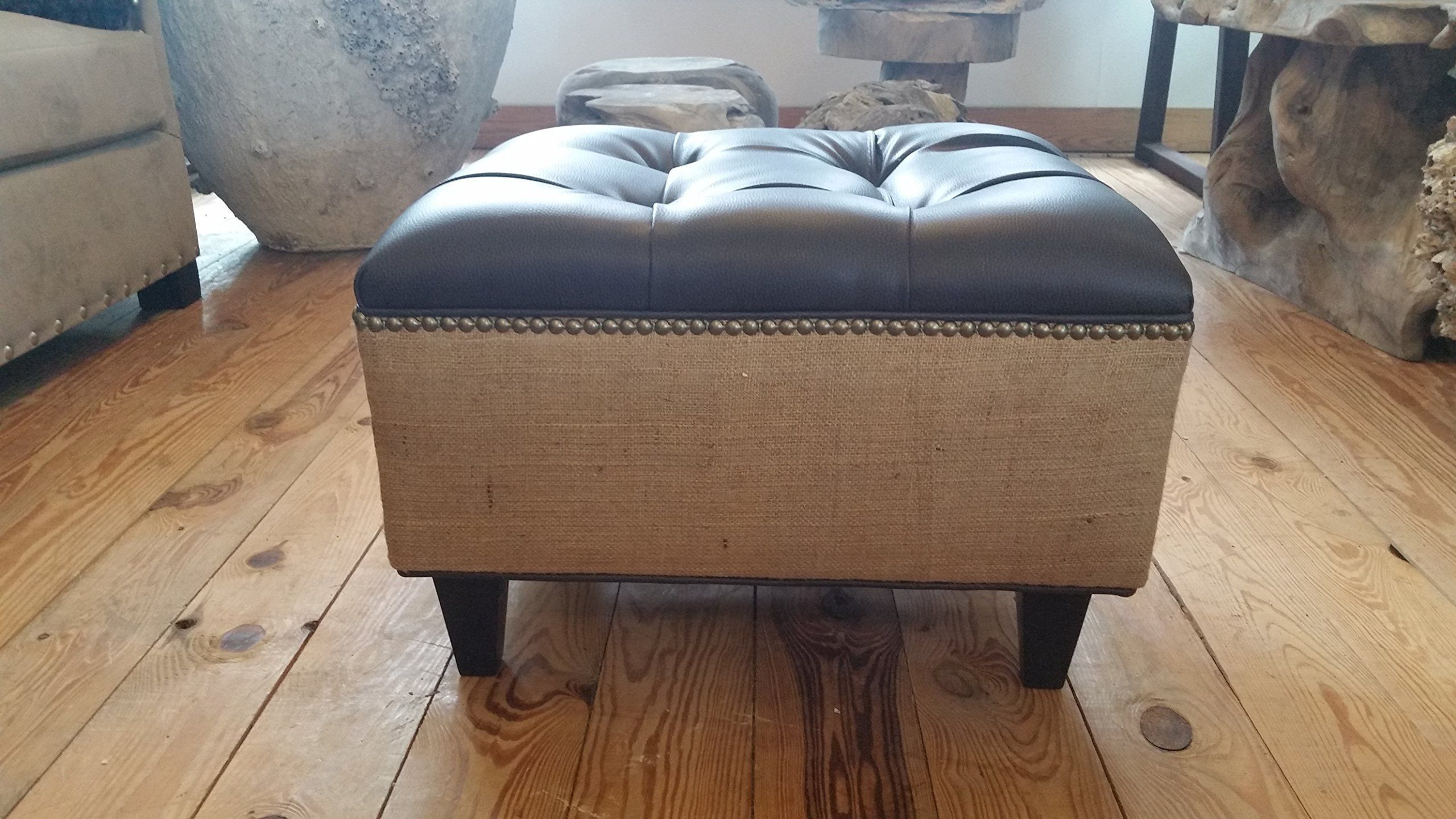 Living Room Furniture Made In The Usa 24 Tufted Vegan Leather And Burlap Ottoman Artisan Made In The