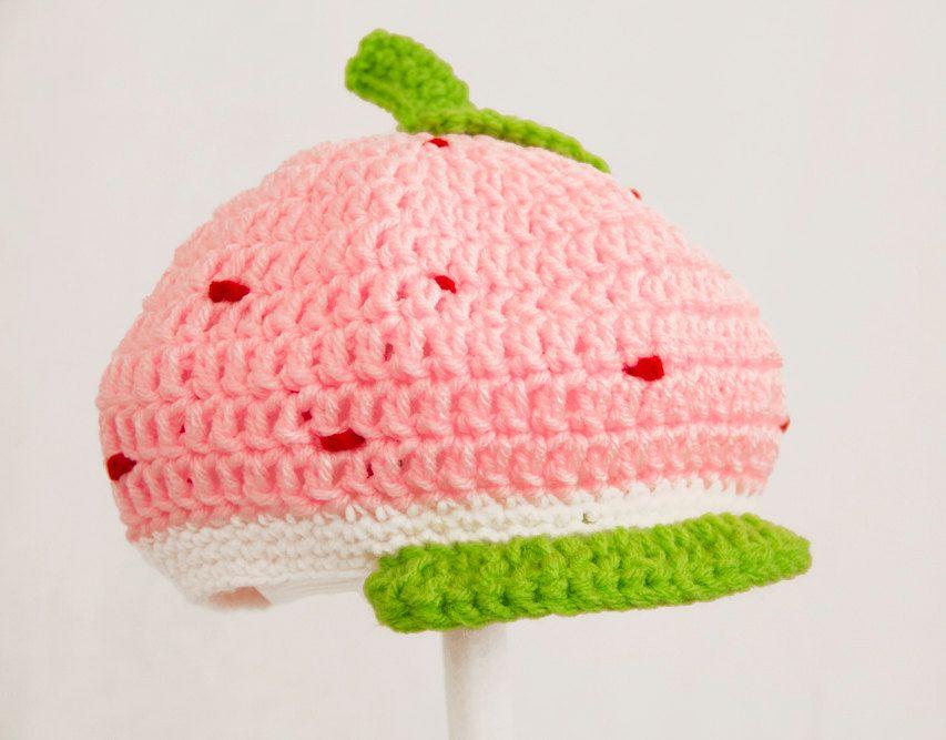 Strawberry Shortcake Hat, Pink Crochet Beanie, send size choice baby ...