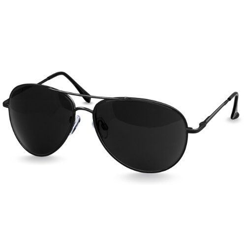 CASPAR Unisex Aviator Pilotenbrille / Sonnenbrille PREMIUM QUALITÄT - SG013, Farbe:schwarz / schwarz