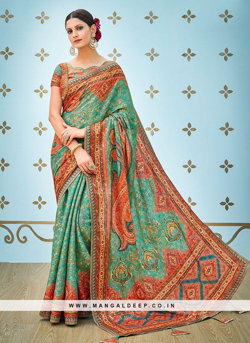 a888b26361 Printed Daily Wear Fabulous Green Color Banarasi Silk Saree #green #silk # saree