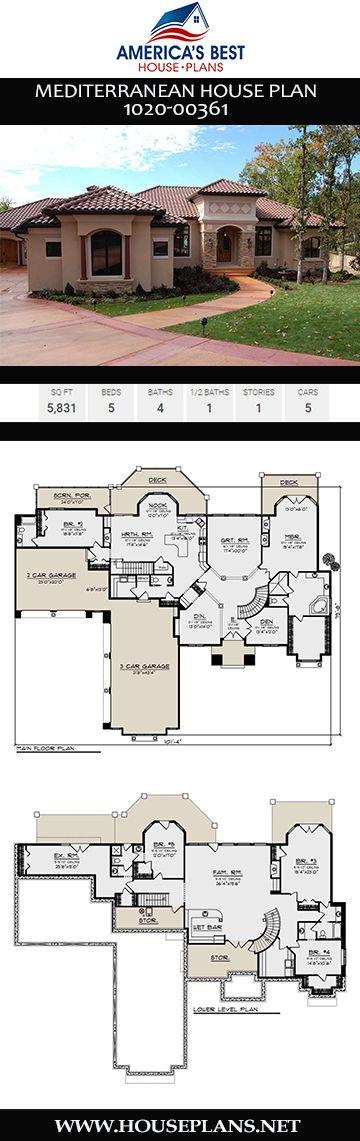 House Plan 1020 00361 Mediterranean Plan 5 831 Square Feet 5 Bedrooms 4 5 Bathrooms In 2020 Mediterranean House Plans Mediterranean Homes Mediterranean House Plan