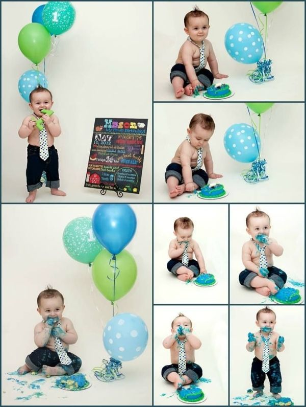 Cake Smash First Birthday Baby Boy Party One Year Old Blue Green Balloons By Simone