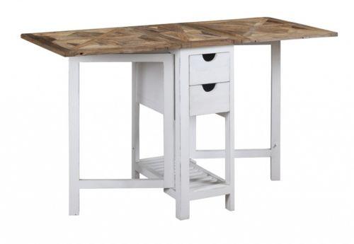 """Tøft og rustikt Avignon barbord med innleggsplater i en stilig fargekombinasjon! Bordet kombinerer moderne """"slitt hvitt"""" med tradisjonell mønstret naturtopp i resirkulert alm. Se detaljbilder for mønsteret i bordplaten.Dette er bordet for deg som tiltrekkes av den rustikke stilen hvor ingen to bord vil være like! Materialene som er benyttet er resirkulerte og vil kunne bære preg av sitt tidligere liv. Sprekker og skjevheter kan og vil oppstå og er en bevisst, naturlig og akseptert del..."""