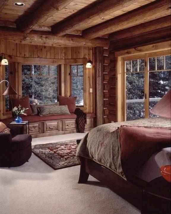 Love The Bay Window Seat Log Home Bedroom Cozy Cabin Bedrooms