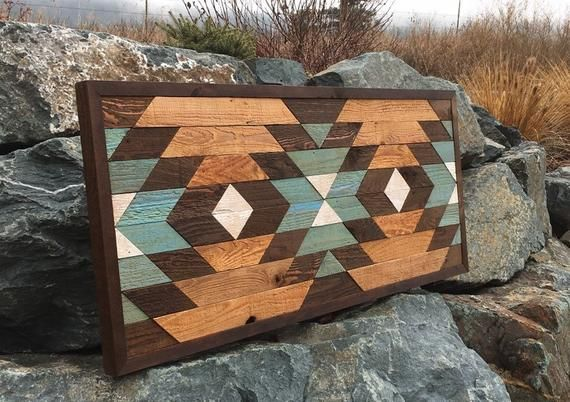 Reclaimed wood wall art - Southwestern wood wall decor - Navajo art inspired #reclaimedwoodwallart