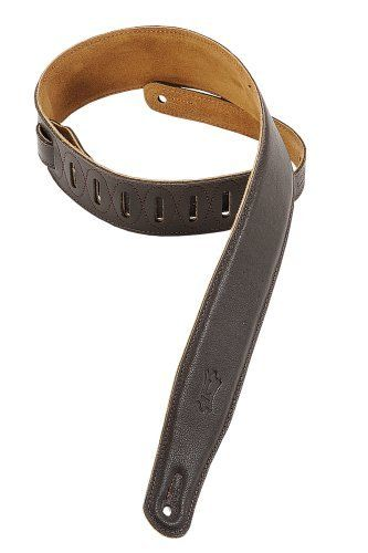 Brown Levys 2.5 Inch Leather Padded Guitar Strap