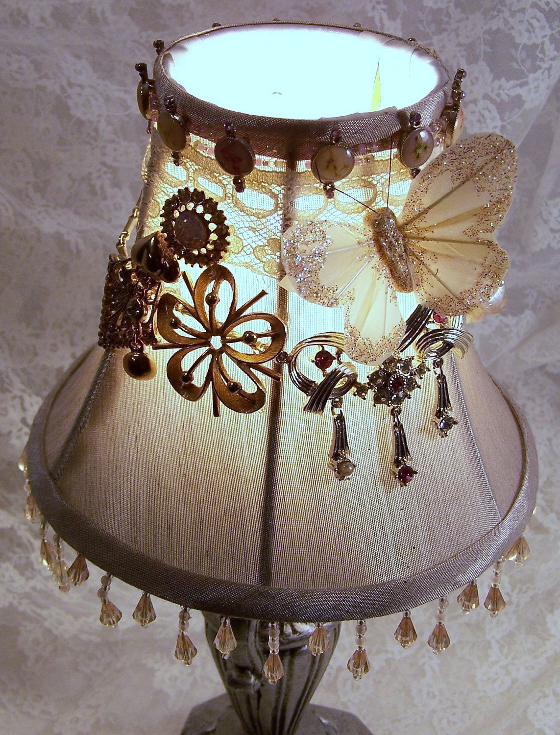 Embellished jeweled night light lamp shade rhinestone jewelry embellished jeweled night light lamp shade rhinestone jewelry butterfly wedding 6500 via etsy aloadofball Images