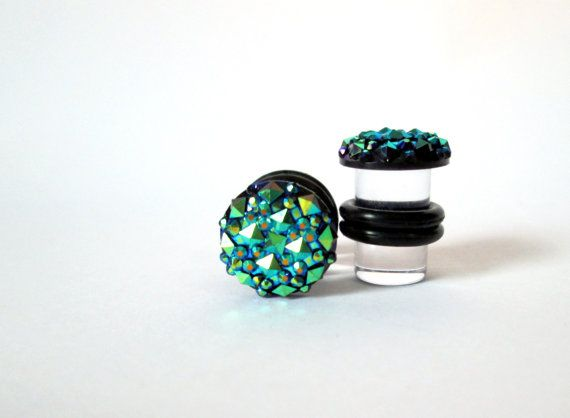 Dark Green Blue AB Finish Geometric Sparkle by TinyLittleFunBits